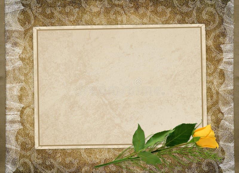 O cartão para o feriado com amarelo levantou-se ilustração stock