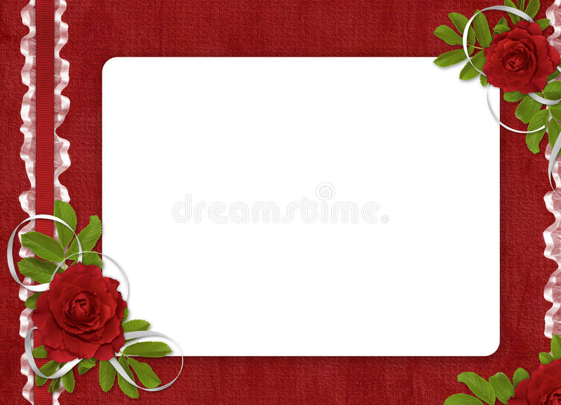 O cartão para o feriado com vermelho levantou-se fotografia de stock