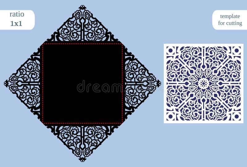O cartão quadrado a céu aberto de papel, convite do casamento, molde para cortar, ata a imitação, corte no plotador, corte b da p ilustração stock