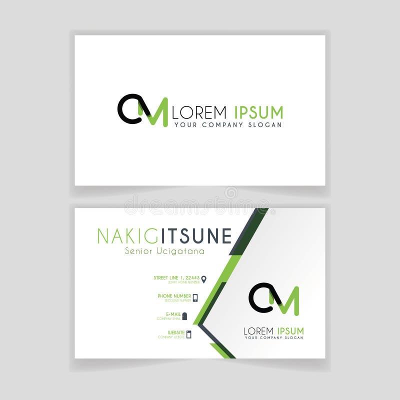 O cartão simples com letra inicial CM arredondou bordas com acentos verdes como a decoração ilustração royalty free