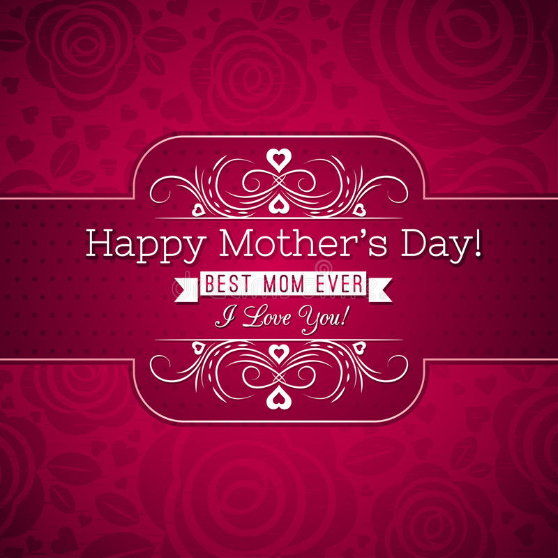 O cartão vermelho do dia de mãe com rosas e os desejos text ilustração do vetor