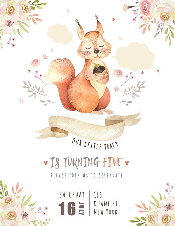 O cartaz animal para nursary, floresta do esquilo boêmio bonito do bebê da aquarela do alfabeto isolou a ilustração da floresta p ilustração royalty free