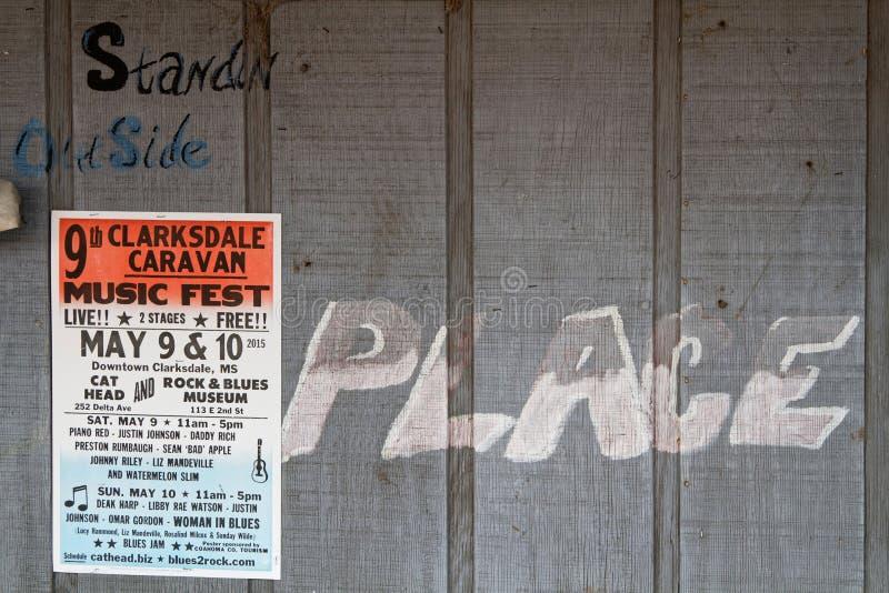 O cartaz anuncia o festival de Clarksdale da caravana foto de stock royalty free