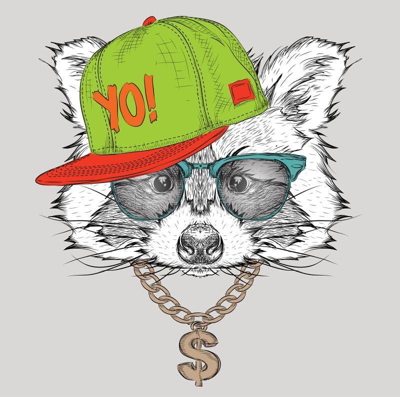 O cartaz com o retrato do guaxinim da imagem no chapéu do hip-hop Ilustração do vetor ilustração do vetor