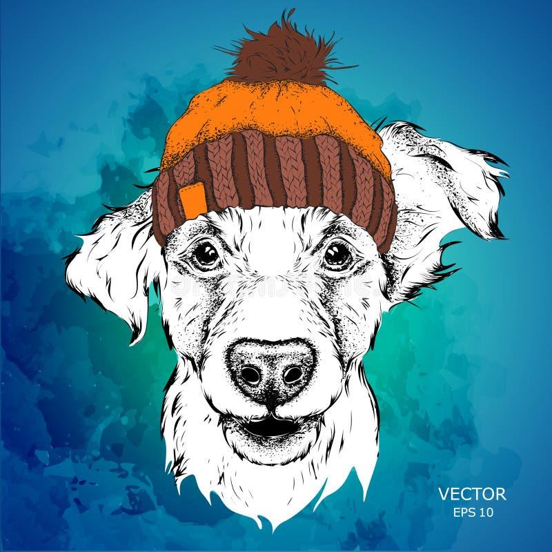 O cartaz com o retrato do cão da imagem no chapéu do inverno Ilustração do vetor ilustração do vetor