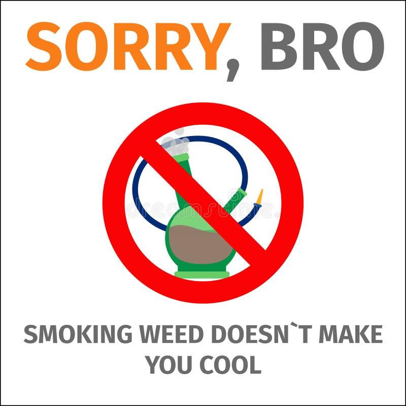 O cartaz com o sinal nenhum bong ilustração do vetor