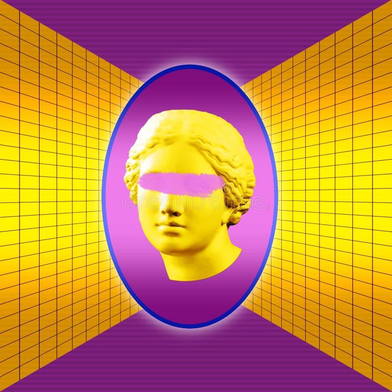 O cartaz conceptual moderno da arte com o Vênus antigo colorido roxo amarelo rebenta a colagem da arte contemporânea ilustração do vetor