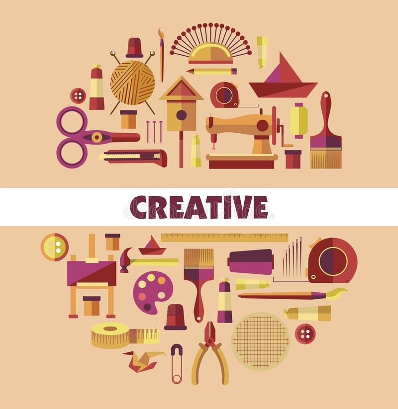 O cartaz criativo com ferramentas da costura e os equipamentos vector a ilustração ilustração do vetor