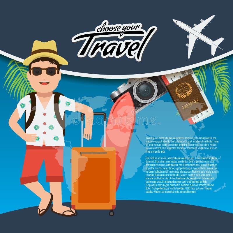 o cartaz criativo realístico do curso 3D e da excursão projeta com avião realístico, caráter do homem da mascote, mapa do mundo,  ilustração royalty free