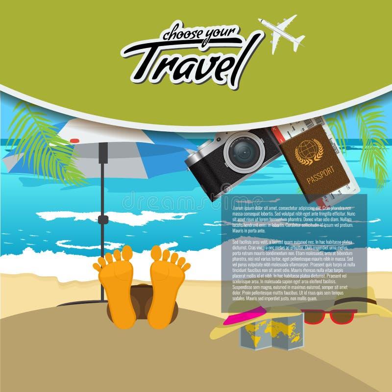 o cartaz criativo realístico do curso 3D e da excursão projeta com avião, o guarda-chuva de praia, o passaporte e os bilhetes de  ilustração stock