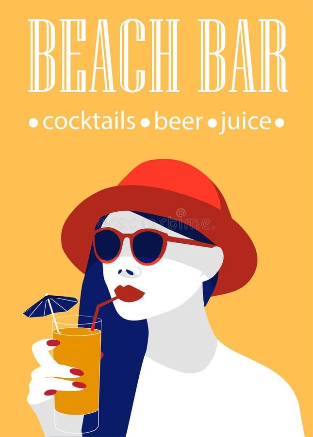 O cartaz da barra da praia adiciona com um cocktail bebendo da jovem mulher ? moda ilustração stock