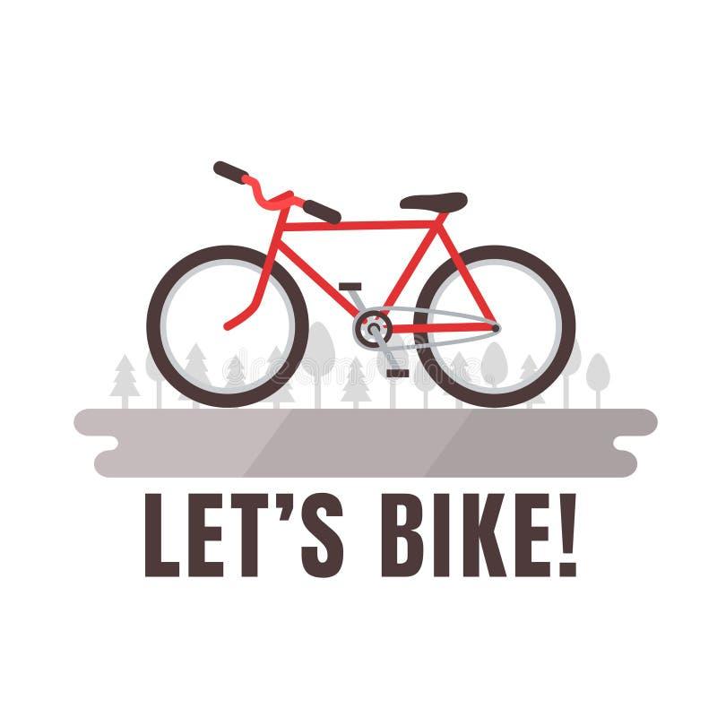 O cartaz da bicicleta de Minimalistic deixou-nos Bike! Bicicleta vermelha ilustração do vetor