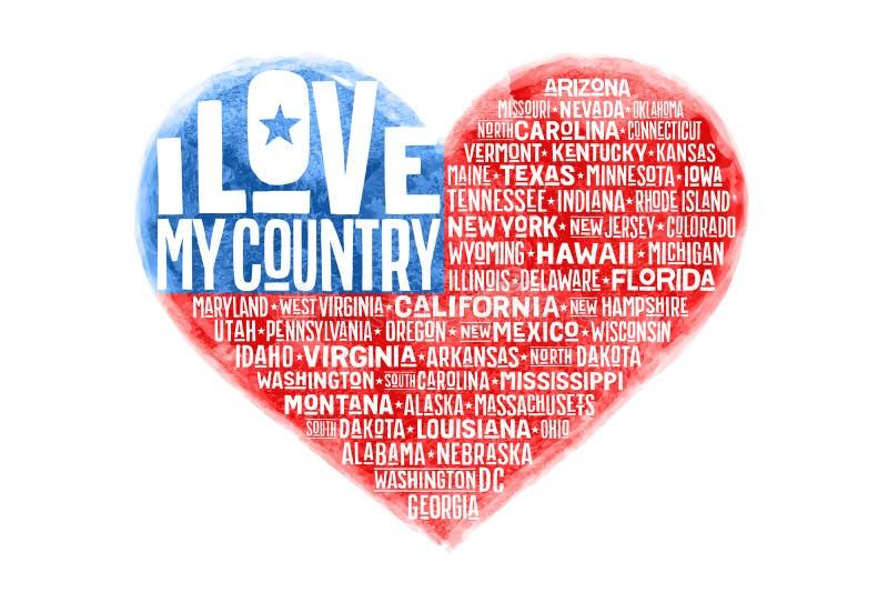 O cartaz da forma do coração da aquarela uniu a bandeira de América do estado ilustração do vetor