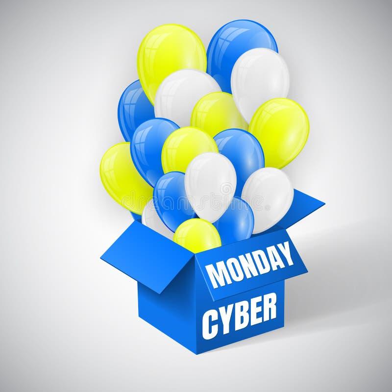 O cartaz da venda de segunda-feira do Cyber com os balões brilhantes do azul, os amarelos e os brancos ajunta o voo da caixa azul ilustração do vetor