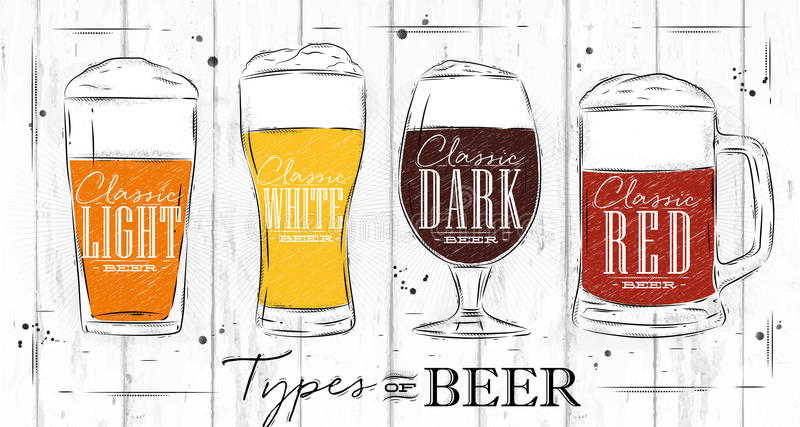 O cartaz datilografa o carvão da cerveja ilustração stock