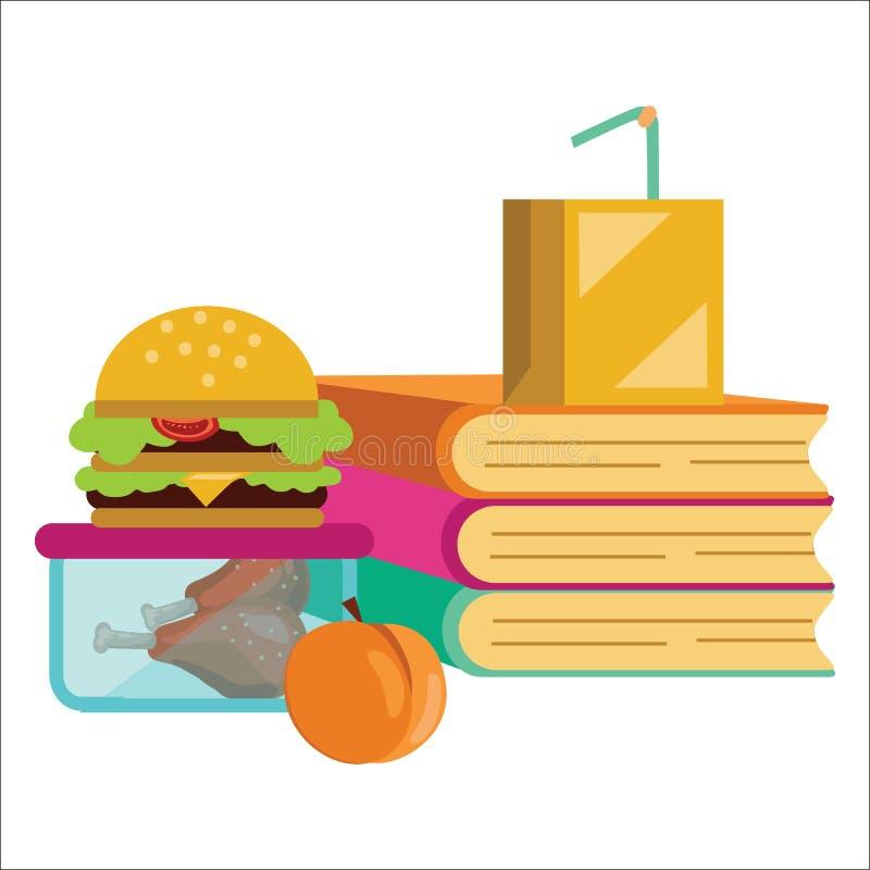 O cartaz do almoço escolar, jantar das crianças perto da pilha dos livros vector a ilustração ilustração royalty free