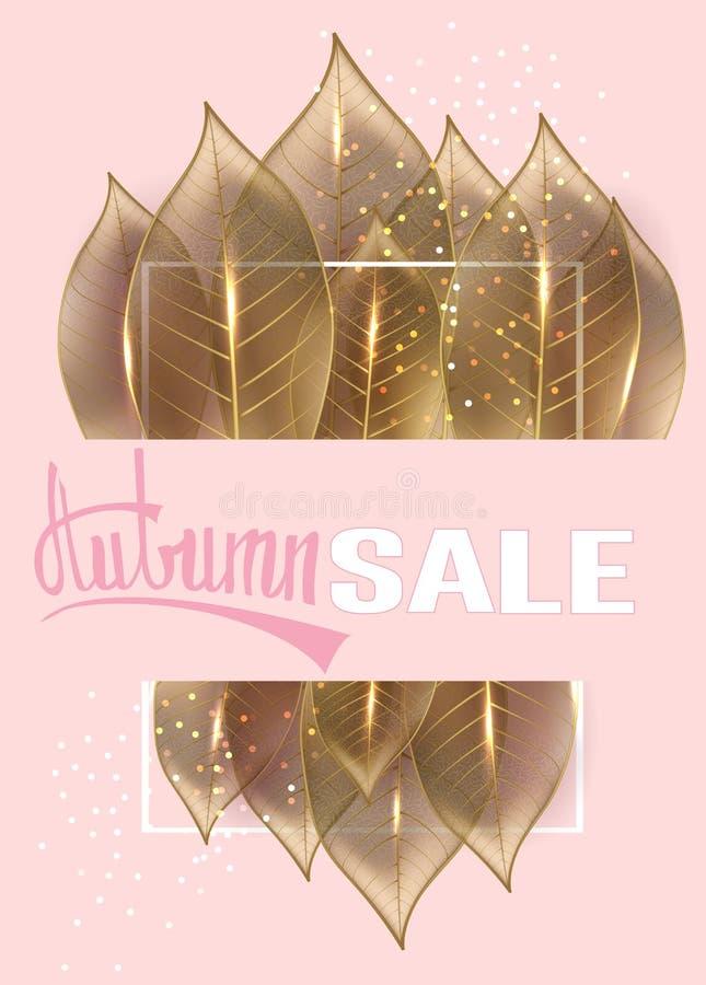 O cartaz do anúncio da venda do outono com ouro de esqueleto sae ilustração royalty free