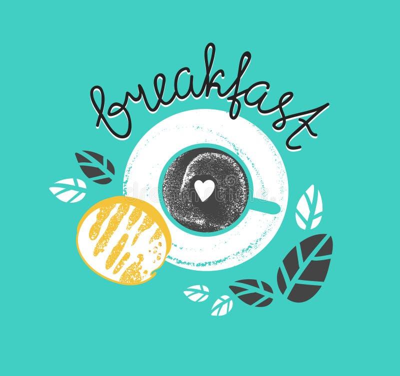 O cartaz do café da manhã do vintage com xícara de café e o brinde Vector a ilustração com rotulação à moda ilustração do vetor