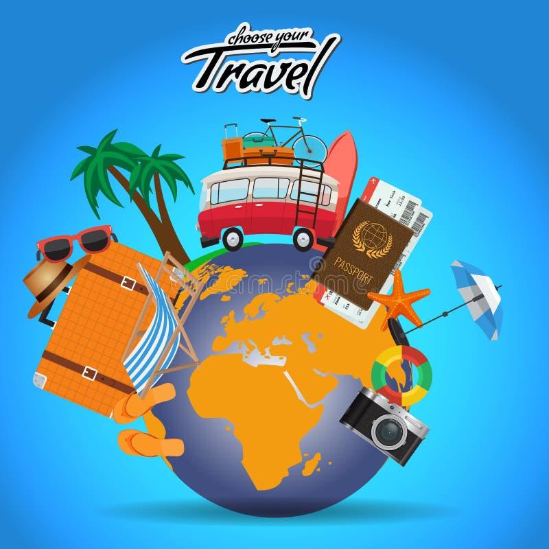 O cartaz do curso e da excursão projeta em todo o mundo com elementos do verão Molde da disposição de propaganda do vetor para se ilustração royalty free