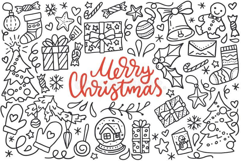 O cartaz do Feliz Natal com os cumprimentos que rotulam e a ilustração da garatuja da árvore do ano novo, flocos de neve, apresen ilustração stock