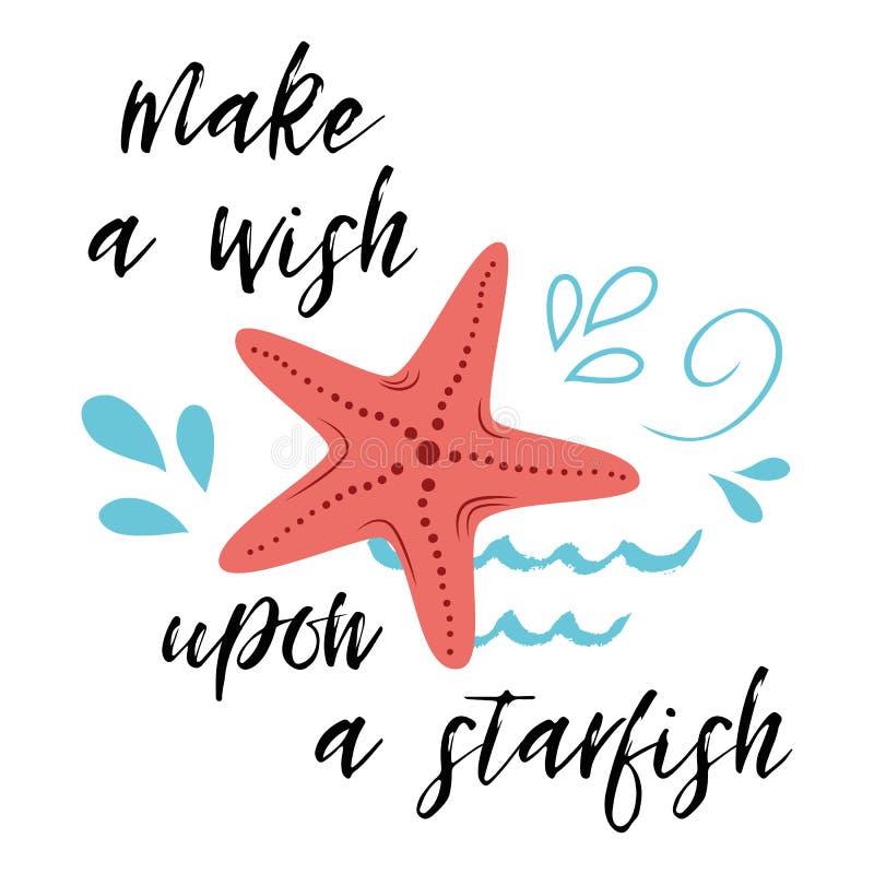 O cartaz do mar com frase dos peixes de mar faz um desejo em cima de uma estrela, onda, citações inspiradas da bandeira tipográfi ilustração do vetor