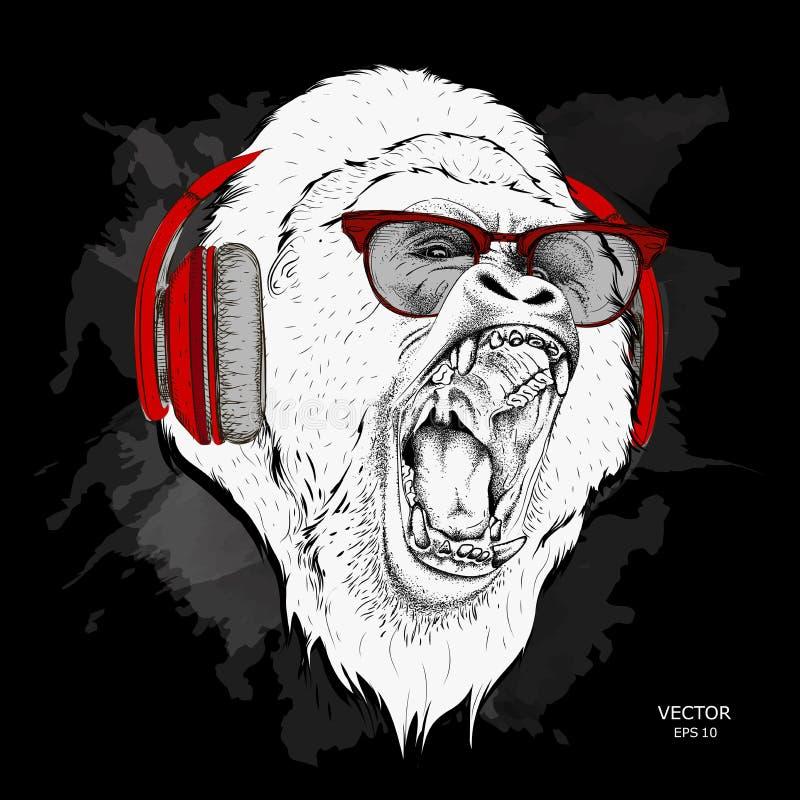 O cartaz do Natal com a imagem do retrato do gorila no chapéu do ` s de Santa Ilustração do vetor ilustração do vetor