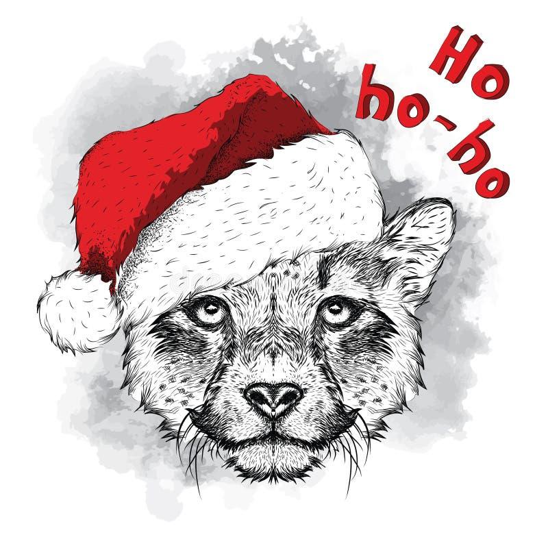 O cartaz do Natal com o retrato da chita da imagem no chapéu do ` s de Santa Ilustração do vetor ilustração stock