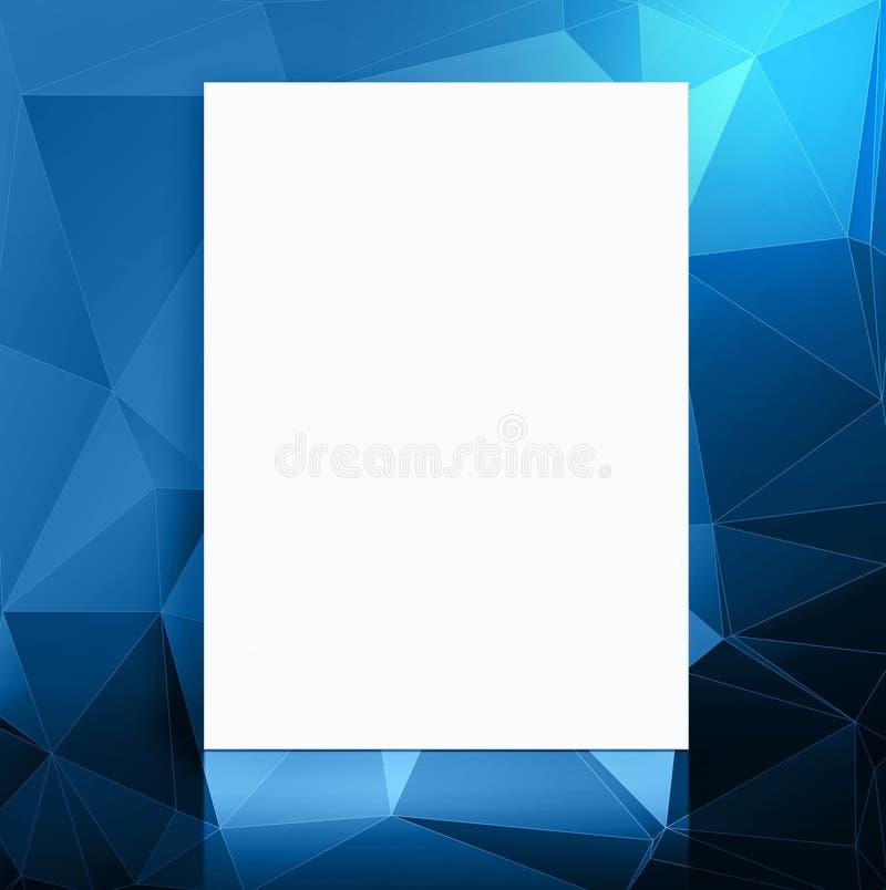 O cartaz do papel vazio em polígono azuis modela a sala do estúdio, molde ilustração stock