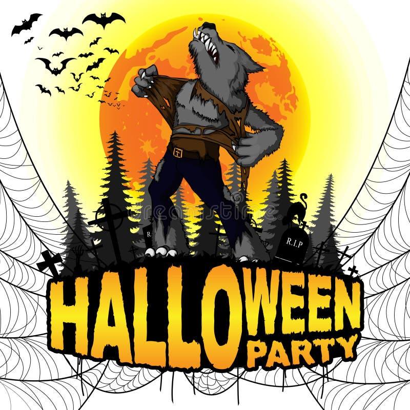 O cartaz do partido de Dia das Bruxas com homem-lobo em um branco isolou o fundo ilustração do vetor