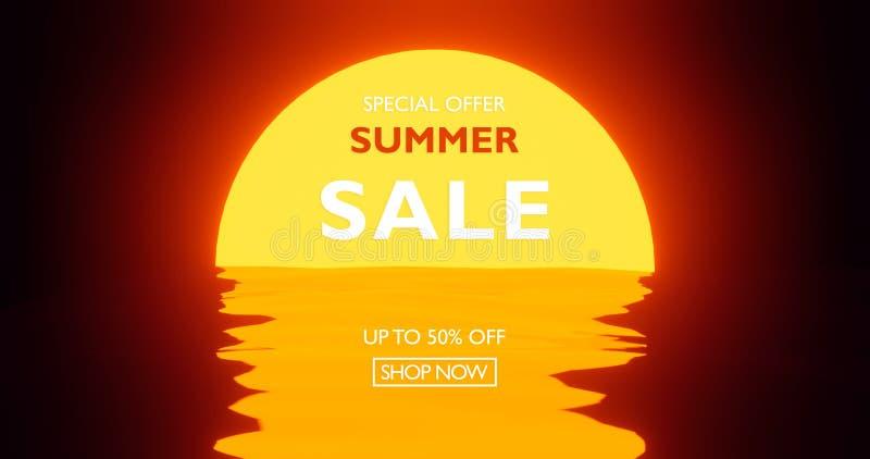 O cartaz do por do sol 80s no estilo 3d rende a reflexão no oceano, cores lisas modernas de Sun da cena ilustração do vetor