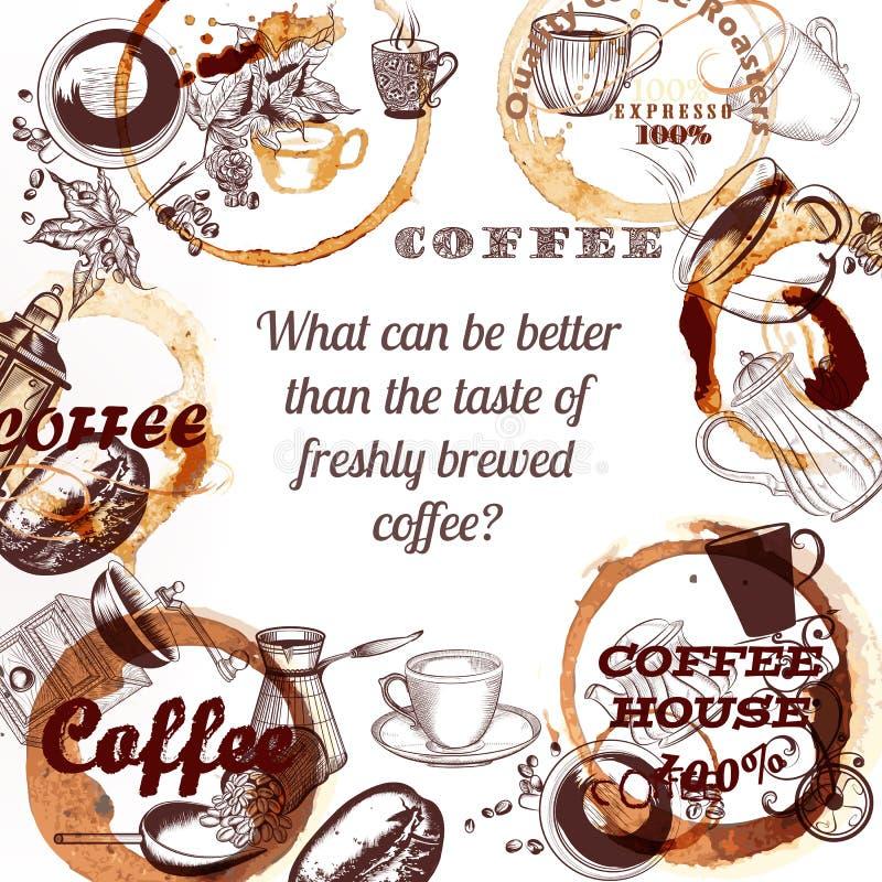 O cartaz do vetor do café com a mão tirada agride pontos dos moinhos de café e ilustração do vetor