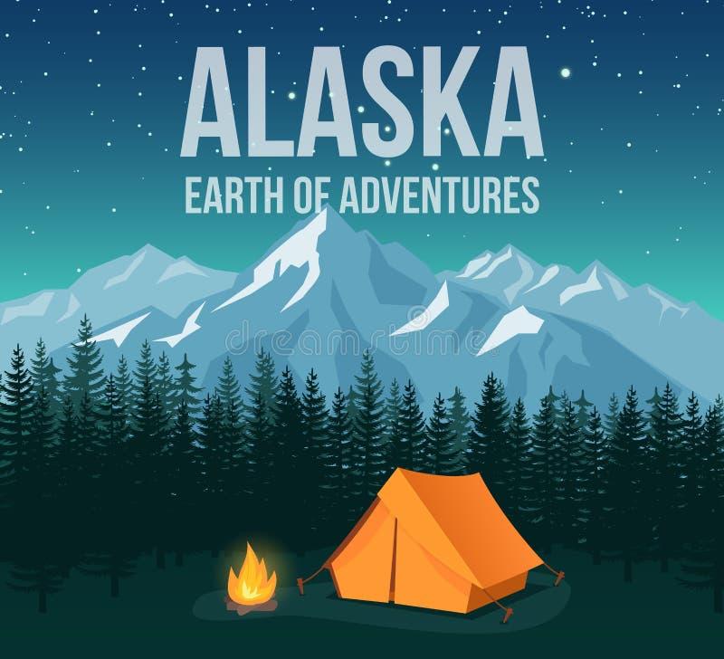 O cartaz do vintage do curso dos animais selvagens do parque nacional de Alaska com montanhas e os pinhos vector a ilustração ilustração do vetor
