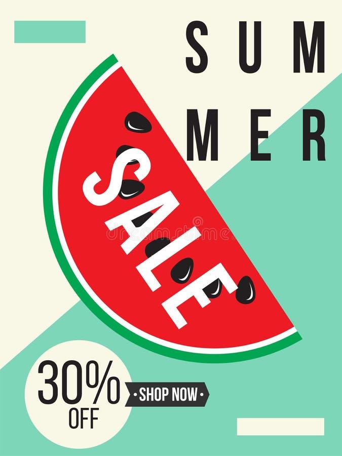 O cartaz e a tampa mínimos da venda do verão projetam no estilo moderno colorido ilustração stock