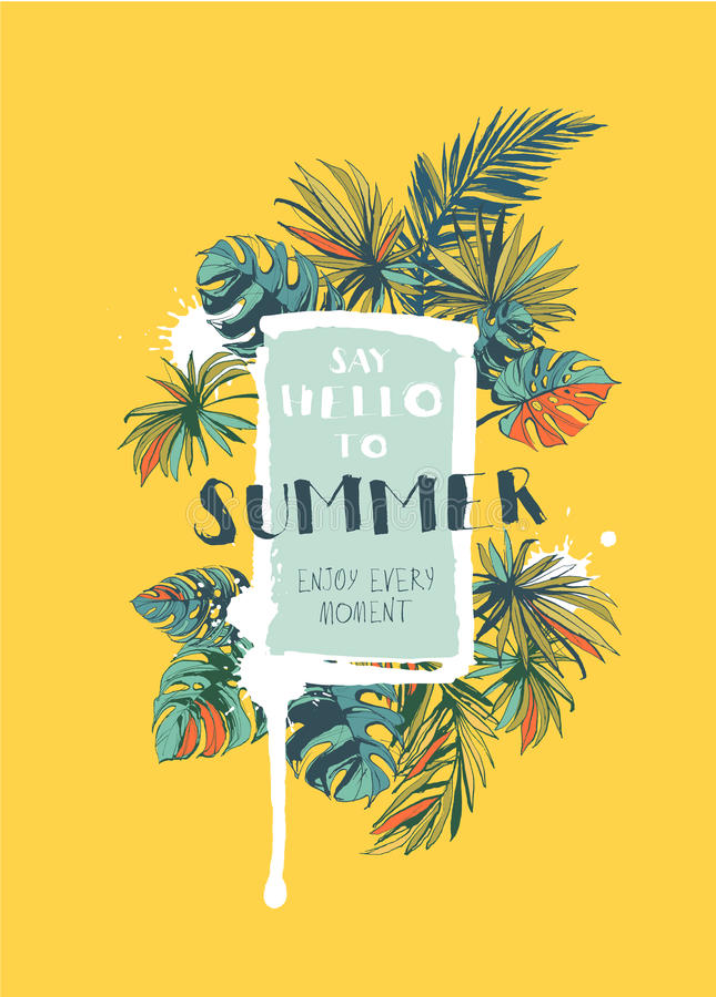 O cartaz floral tropical do partido do verão com Palm Beach sae colo ilustração do vetor