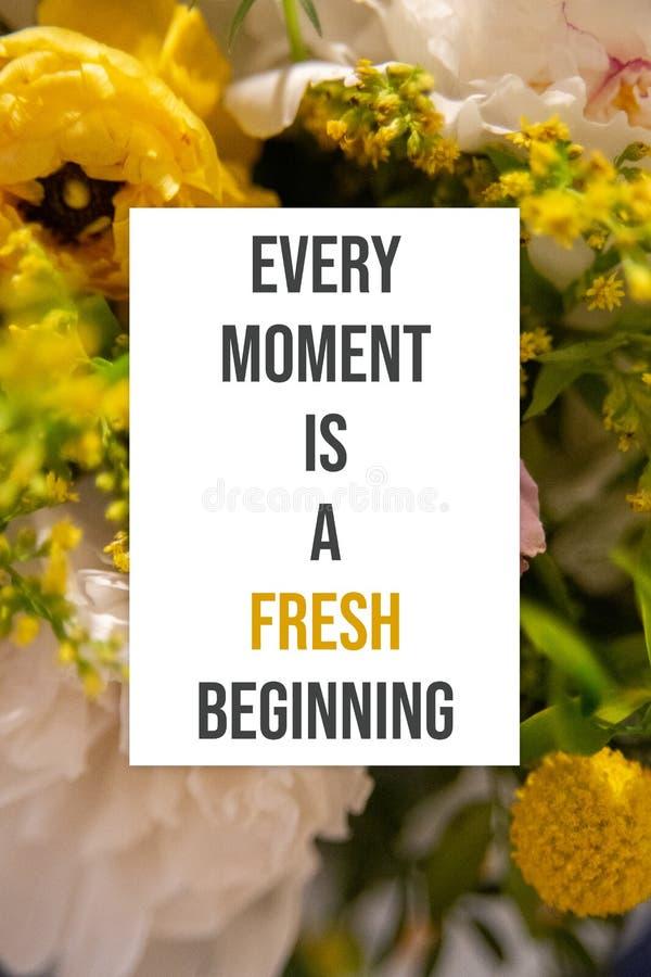O cartaz inspirado cada momento é um começo fresco fotos de stock royalty free