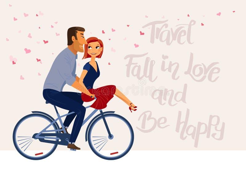 O cartaz inspirado romântico com pares na equitação do amor bike ilustração royalty free