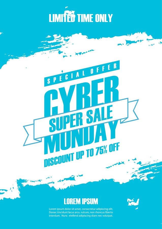 O cartaz relativo à promoção da venda de segunda-feira do Cyber com azul coloriu o fundo do curso da escova para o comércio, o ne ilustração do vetor