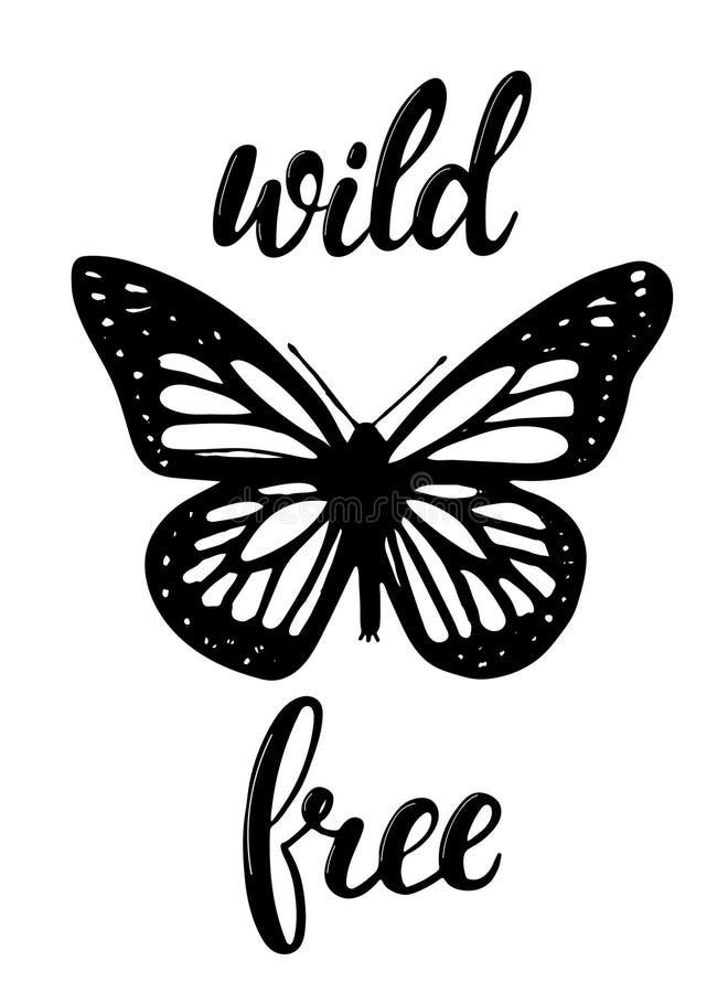 O cartaz selvagem e livre do ` do ` com uma mão esboçou a borboleta ilustração stock