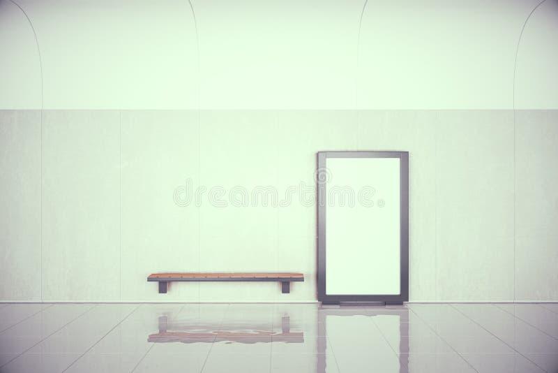 O cartaz vazio na parede e o banco de madeira no salão vazio, zombam acima ilustração royalty free
