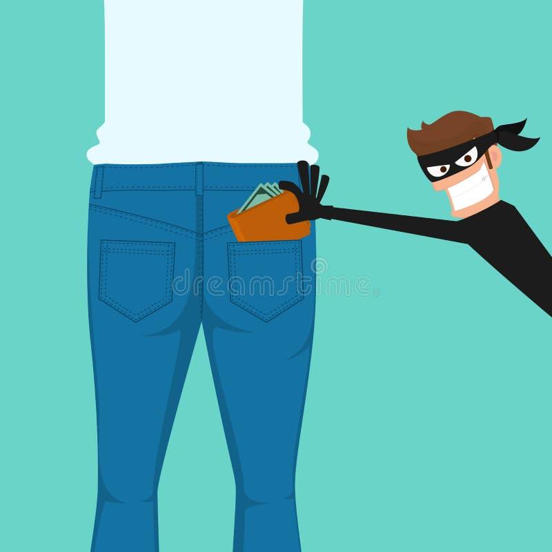O carteirista do ladrão que rouba uma carteira das calças de brim traseiras pocket ilustração stock