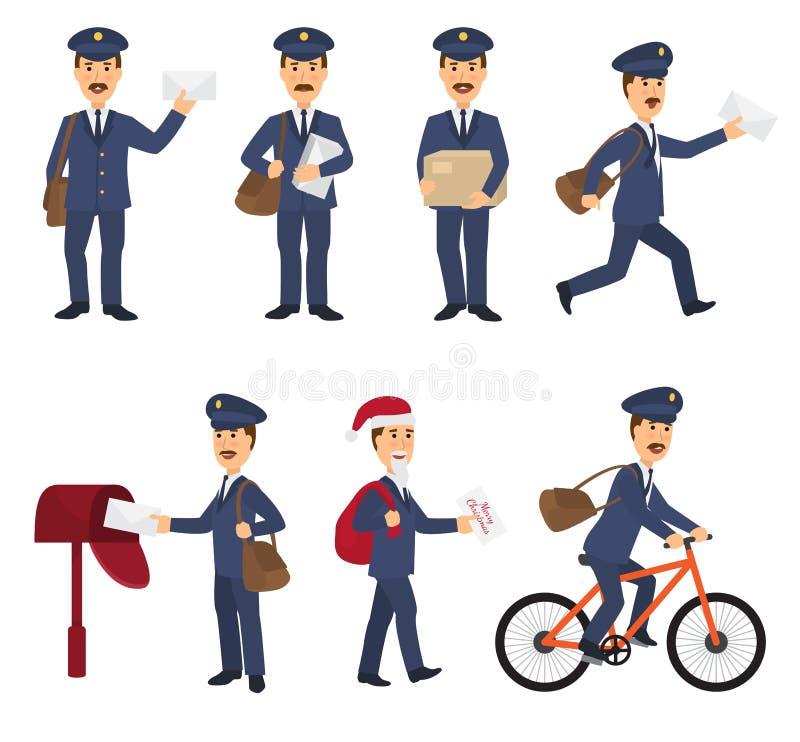 O carteiro do vetor do carteiro entrega correios no postbox ou o caráter da caixa postal e do cargo leva letras enviadas na caixa ilustração stock