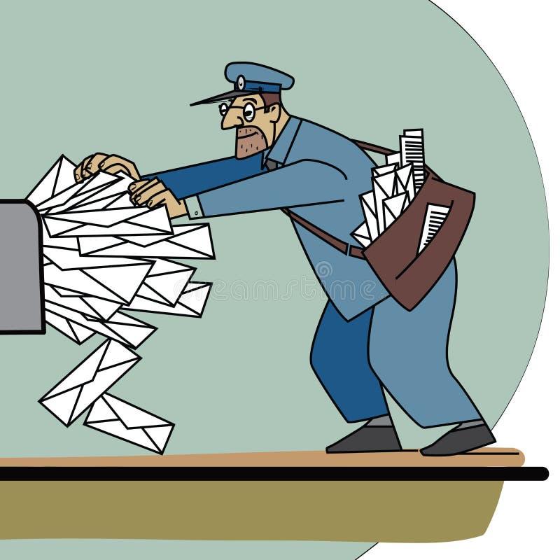 O carteiro muitos correio e Inbox de papel ilustração do vetor