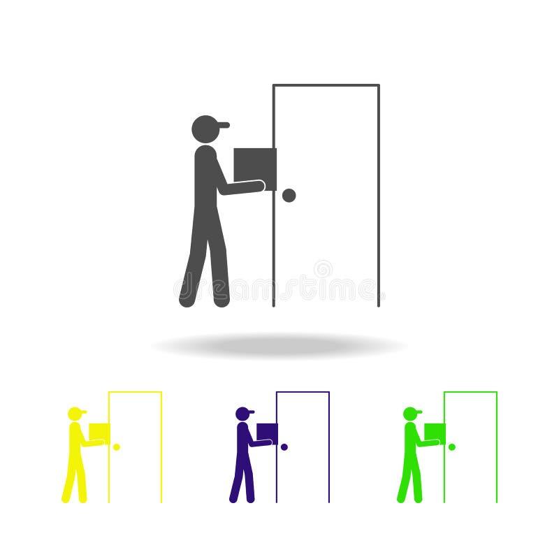 o carteiro nos ícones coloridos da porta Sinais e ícone para Web site, design web da coleção dos símbolos, app móvel no branco ilustração royalty free