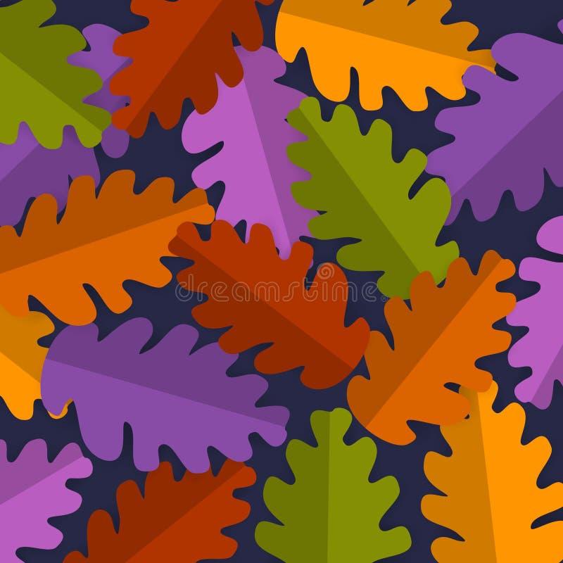 O carvalho colorido brilhante do estilo do corte do papel sae do fundo, vetor da bandeira da ação de graças da queda do outono ilustração royalty free