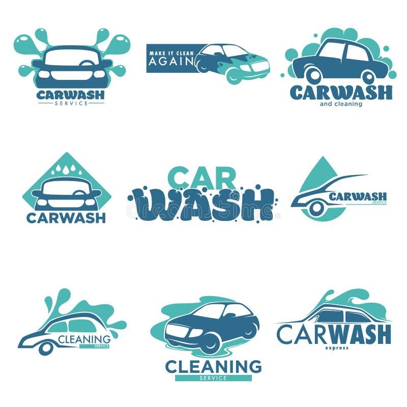 O Carwash isolou o veículo e o transporte do serviço da limpeza do carro dos ícones ilustração stock