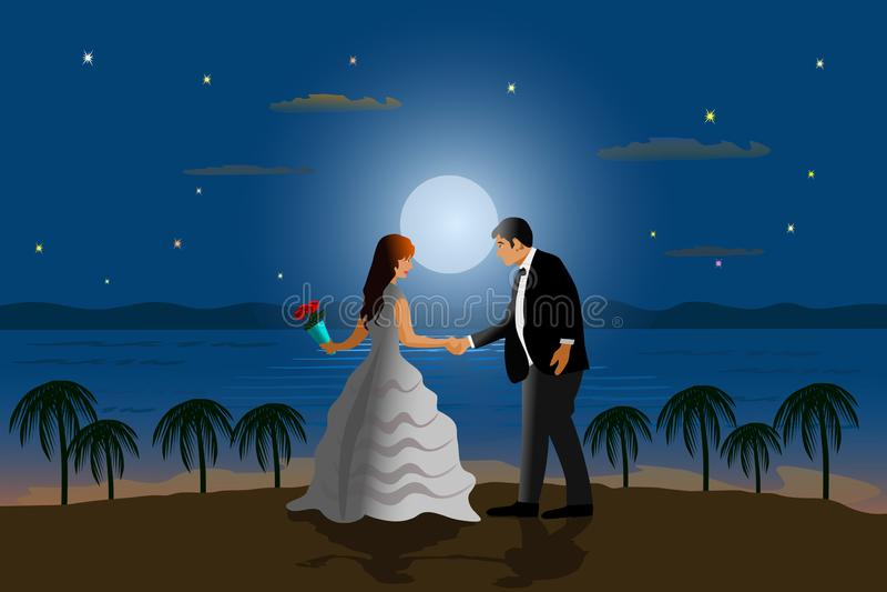 O casal está dançando na praia Com o mar e a lua como o fundo ilustração do vetor