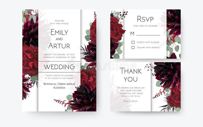 O casamento convida, cartão do convite, rsvp, obrigado os cartões de floral ilustração stock