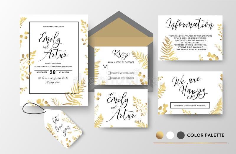 O casamento convida, convite, obrigado, rsvp, vetor f do cartão da etiqueta ilustração royalty free