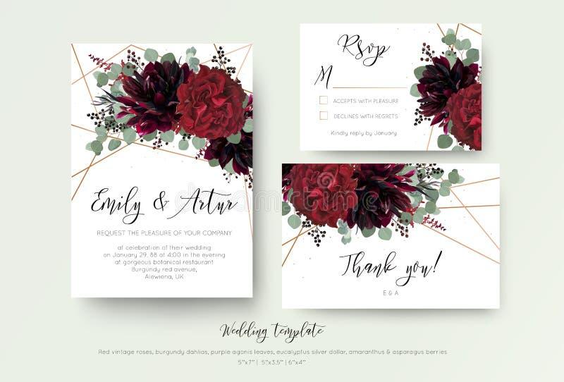 O casamento convida o convite, rsvp, obrigado design floral do cartão r ilustração stock