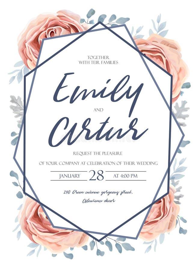 O casamento convida, convite, salvar o projeto de cartão da data: peac cor-de-rosa ilustração royalty free